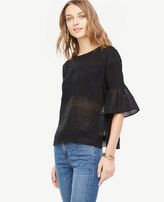 Ann Taylor Petite Sheer Stripe Flounce Sleeve Blouse