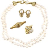 Judith Ripka 18K Yellow Gold Diamond Pearl Necklace Earrings Pendant Brooch Set