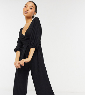 ASOS DESIGN Petite wrap front textured smock jumpsuit in black