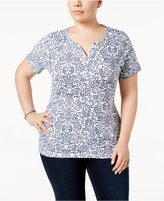Karen Scott Plus Size Printed Henley T-Shirt, Only at Macy's