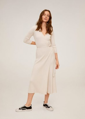 MANGO Wrap ribbed dress beige - 4 - Women