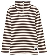 Mini Rodini Stripe Rib Polo Tee Brown