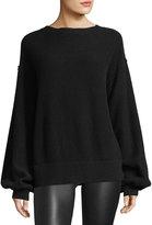 Helmut Lang Air-Spun Wool-Cashmere Blouson-Sleeve Pullover Sweater