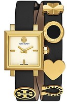 Tory Burch Saucy Double-Wrap Watch, Black Leather/ Gold-Tone, 25mm