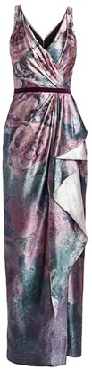 Marchesa Draped Metallic Floral Gown