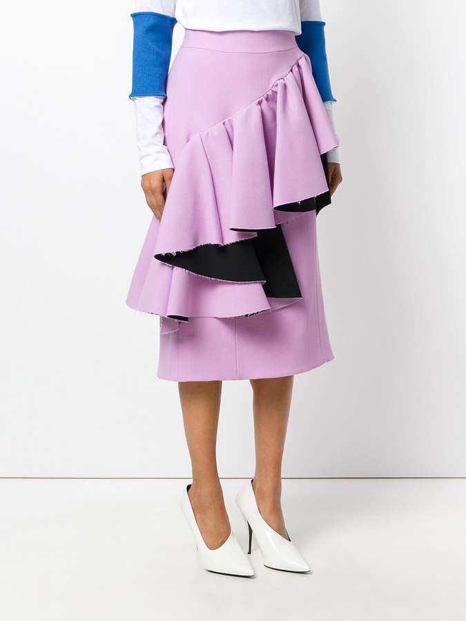 Marni asymmetric frilled skirt