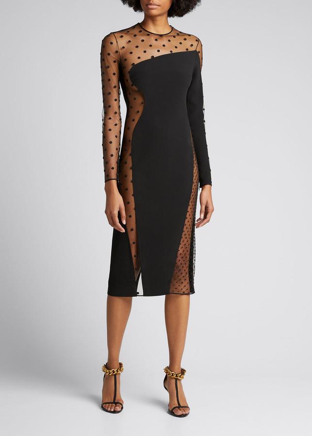 Stella McCartney Sheer Polka Dot Panel Illusion Bodycon Dress