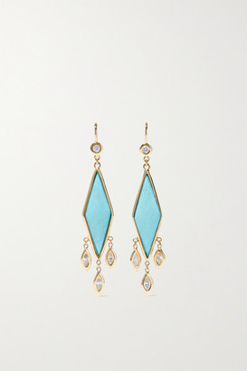 Jacquie Aiche 14-karat Gold, Turquoise And Diamond Earrings - one size