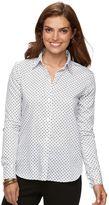 Chaps Petite No Iron Printed Sateen Shirt