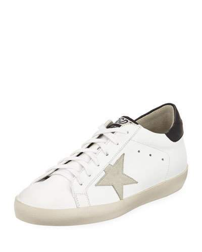 Golden Goose Superstar Leather Low-Top Platform Sneakers with Suede Star