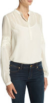 MICHAEL Michael Kors Long-Sleeve Semisheer Henley Blouse w/ Crocheted Trim, Cream