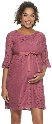 A Glow Maternity a:glow Lace Bell-Sleeve Dress