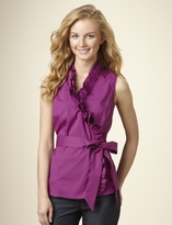 Sleeveless Ruffle Wrap Top