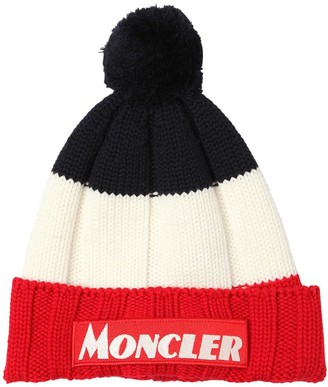 Moncler Color Block Virgin Wool Beanie
