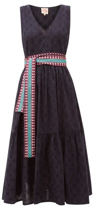 Le Sirenuse Le Sirenuse, Positano - Evelin Belted Embroidered-cotton Midi Dress - Womens - Navy