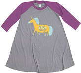 Urban Smalls Gray & Purple Fanciful Unicorn Raglan Dress - Toddler & Girls