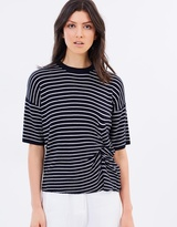 Whistles Stripe Knot Front Knitted Tee
