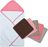 Trend Lab 6-Piece Cocoa Coral Hooded Towel and Washcloth Set in Coral Dot