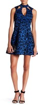 Trixxi Cutout Velvet Embroidered Flocked Scuba Skater Dress