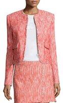 Carven Cropped Tweed Zip-Front Jacket, Poppy