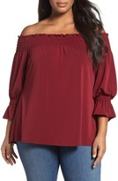 Sejour Plus Size Women's Smocked Off The Shoulder Top