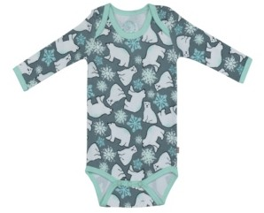 Pureheart Organics Baby Boys and Girls Snow Bears Long Sleeve Onesie