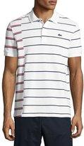 Lacoste Irregular-Stripe Polo Shirt, White