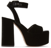 Miu Miu Black Velvet Platform Sandals