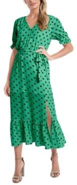 CeCe Polka-Dot Tie-Waist Midi Dress