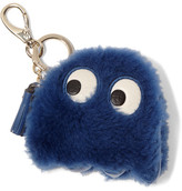 Anya Hindmarch Ghost Leather-trimmed Shearling Keychain - Royal blue