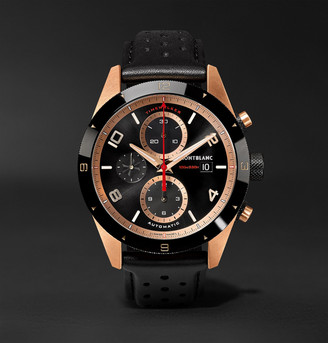 Montblanc TimeWalker Automatic Chronograph 43mm 18-Karat Red Gold, Ceramic and Leather Watch, Ref. No. 117051 - Men