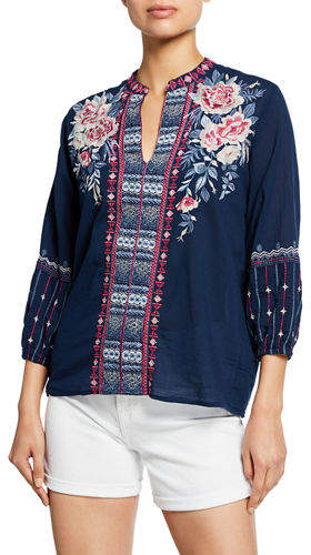 Johnny Was Kiernan Embroidered Paris Effortless 3/4-Sleeve Voile Blouse
