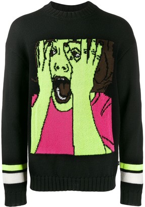 Marcelo Burlon County of Milan Scream Intarsia Knitted Jumper