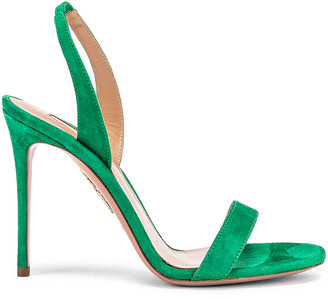 Aquazzura So Nude Suede 105 Sandal in Jungle Green | FWRD