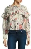 Rebecca Taylor Ruffle Pullover Cotton Sweater