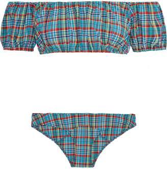 Lisa Marie Fernandez Leandra Off-the-shoulder Checked Bikini