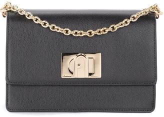 Furla 1927 Mini Shoulder Bag In Black Leather With Shoulder Strap