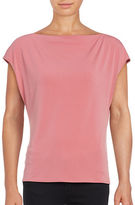 T Tahari Cap-Sleeve Boatneck Top