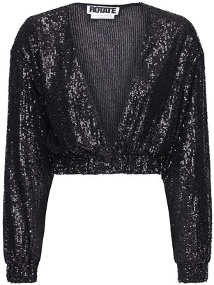 Rotate by Birger Christensen Judy Sequined Crop Jacket