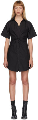 Alexander Wang Black Crisp Poplin Twist Short Dress