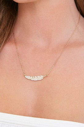 Forever 21 Rhinestone Feather Pendant Necklace