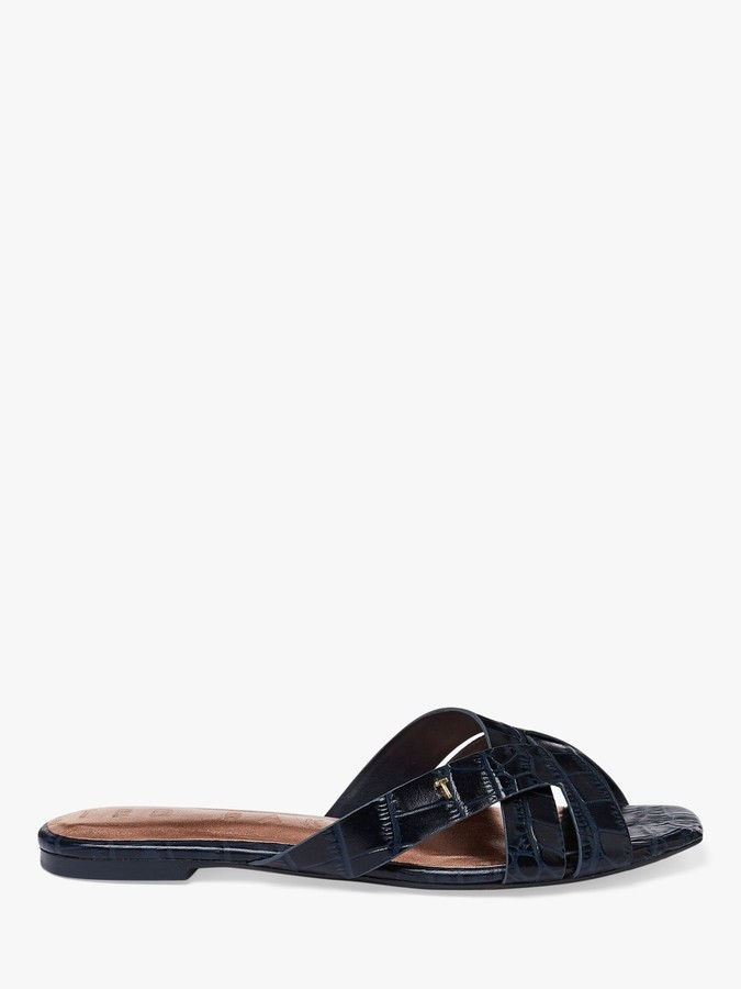 Ted Baker Zelania Leather Flat Sandals, Blue Navy