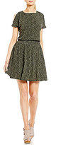 MICHAEL Michael Kors Cole Floral Print Cold Shoulder Smocked Waist Dress