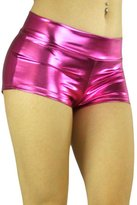 ToBeInStyle Women's Elastic Higher Waisted Metallic Mini Shorts
