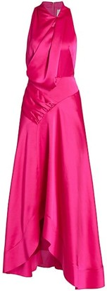 Acler Palmera Satin Draped Dress
