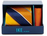 Ike Behar Large Texture Stripe Silk Tie & Handkerchief