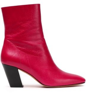 IRO Roszaria Crinkled Glossed-leather Ankle Boots