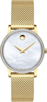 Movado 28mm Museum Classic Diamond Mesh Watch, Gold