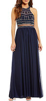 Sequin Hearts Halter-Neck Beaded Bodice Faux Two-Piece Long Dress