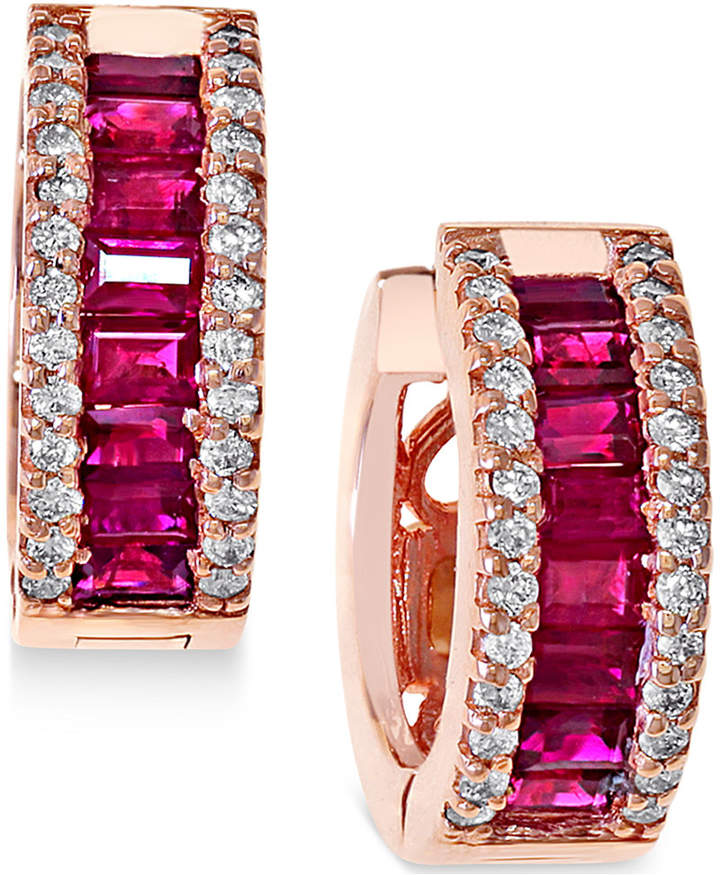Effy Ruby (1-1/2 ct. t.w.) and Diamond (3/8 ct. t.w.) Earrings in 14k Rose Gold